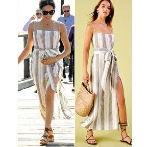Reformation Pineapple Striped Linen Dress